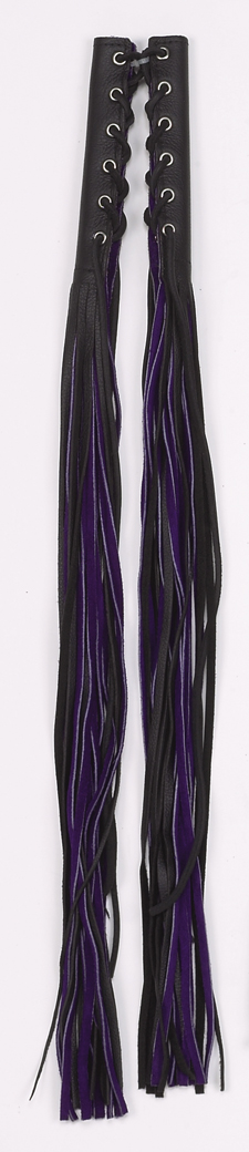 Purple/Black Leather Motorcycle Fringed Lever Covers