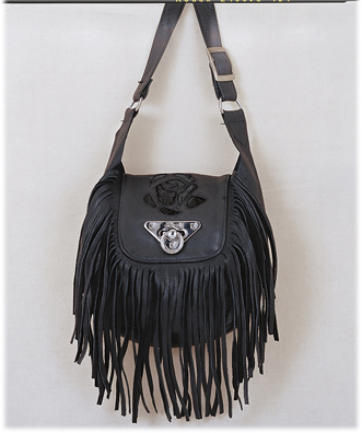 Ladies black rose Inlay purse small