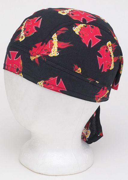 AC224<br> Cotton Skull Cap W/ Flames