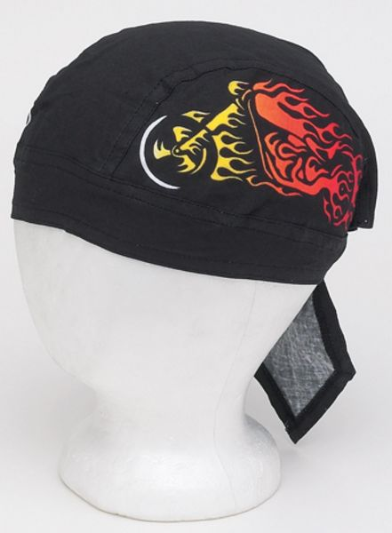 AC225<br>Cotton Skull Cap W/ Motorcycle In Flames
