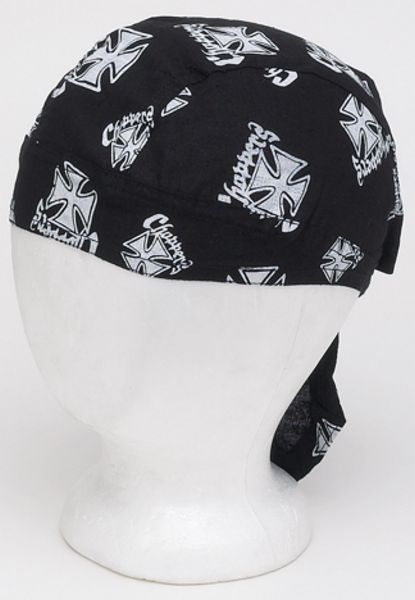 AC230<br>Cotton Skull Cap W/ White Chopper Cross