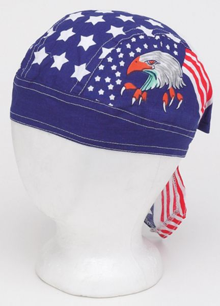 AC232<br>Cotton Skull Cap W/ Eagle, Stars & Stripes