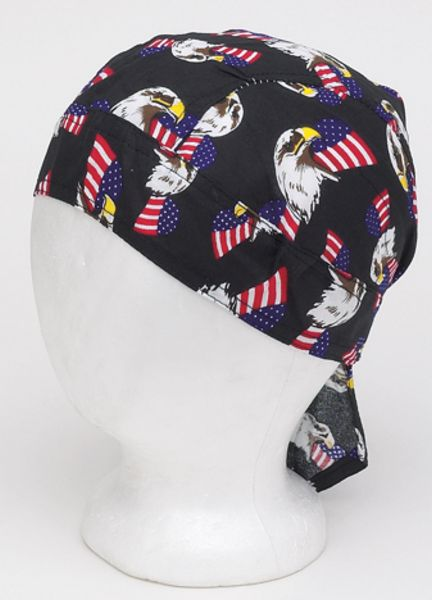AC237 <br>Cotton Skull Cap W/ American Eagle And Flag Logo