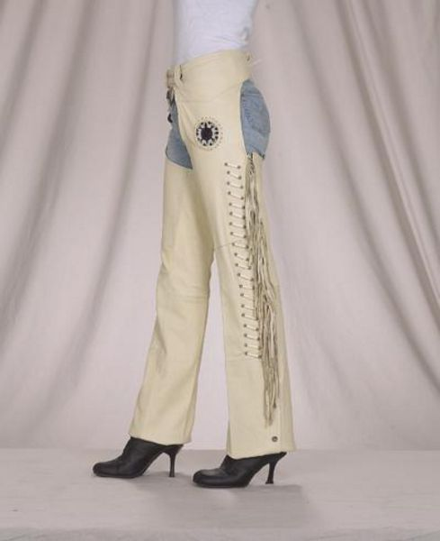C323<br>Ladies chaps with bone,bead and fringe