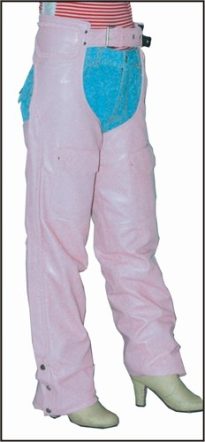 C325-Pink<br>Ladies Pink Leather chaps