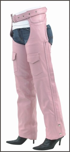 C326-Pink<br>Ladies Pink Braided chaps