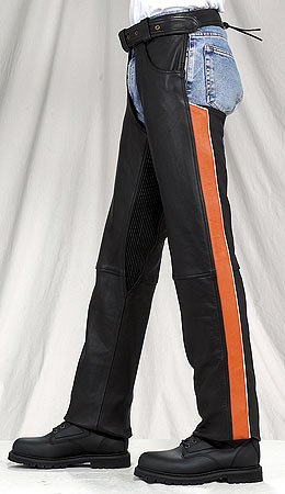 C333<br>Orange Stripe Leather Chaps