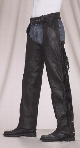 C337<br>Braided & fringed Leather Chapsw/ Gathered Thighs (Medium Weight)