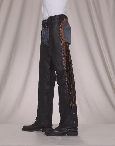 C338<br>Deluxe Leather Chaps w/ Stud & Fringe