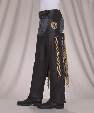 C339<br>Deluxe Leather Chaps with Bead, Bone and Fringe