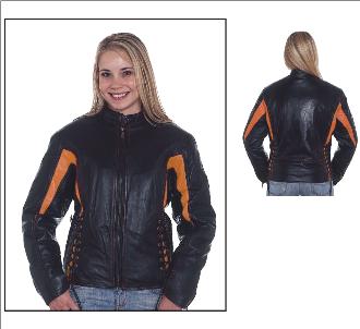 DLJ266-Orange<br>Ladies black & orange leather racer jacket