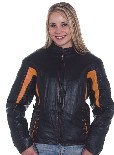 DLJ266-Orange<br>Ladies black & orange leather racer jacket