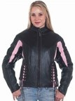 DLJ266-Pink<br>Ladies black & pink leather racer jacket