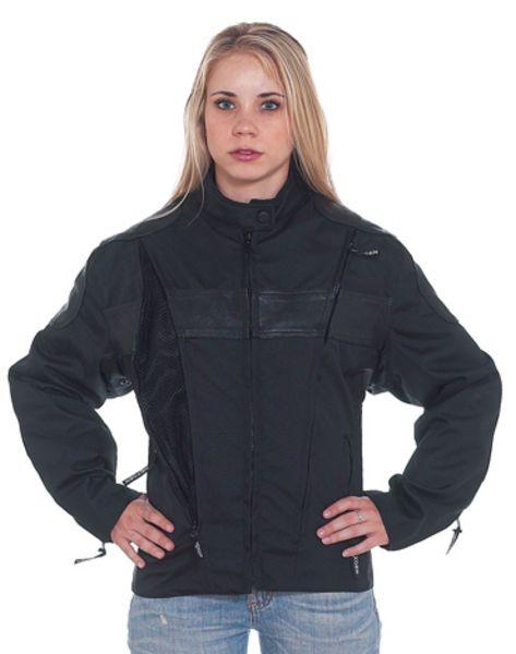 DLJ268<br>Ladies textile & leather racer jacket