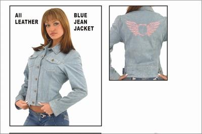 DLJ282<br>Ladies Genuine Leather &#34;Denim&#34; Jacket w/ Studs