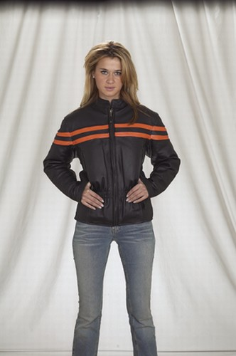 DLJ253-09<br>Ladies heavy duty soft leather vented racer jacket