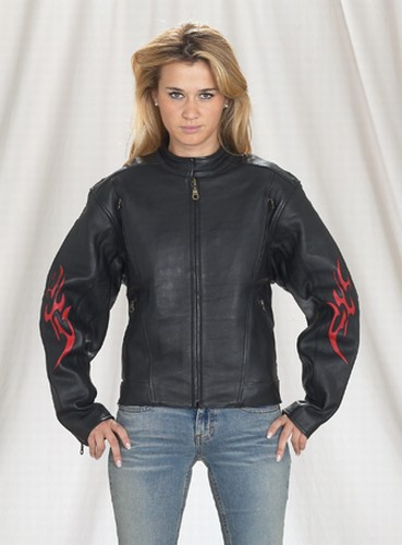 DLJ255-09<br>Ladies motorcycle jacket with flame