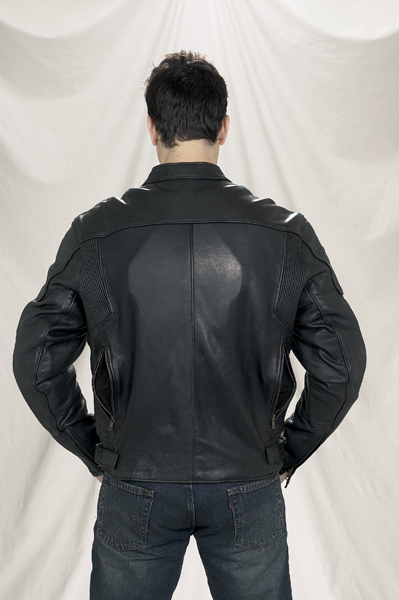 DMJ720-01<br>Mens Naked Cowhide Leather Racer jacket
