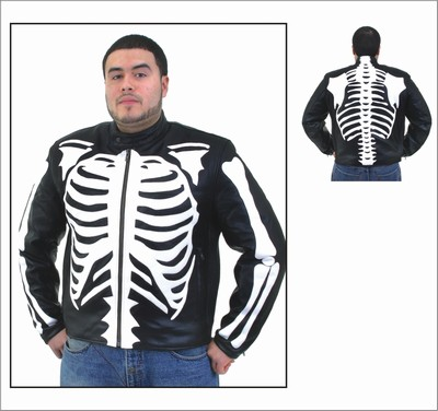 DMJ801<br>Mens Top Grade Soft Leather Skeleton Jacket