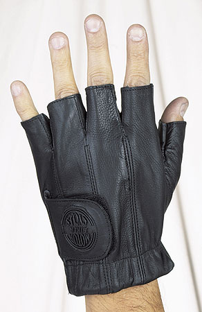 All leather fingerless riding gloves with gel with velcro