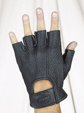 All leather fingerless riding gloves with gel and airvent holes with velcro