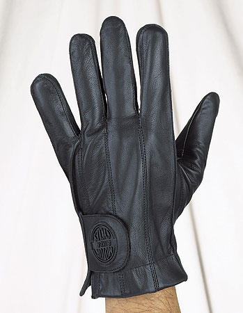 All leather full finger riding gloves with gel and velcro