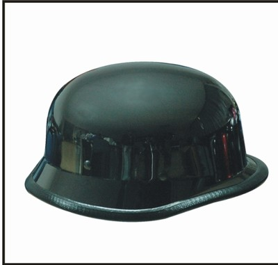 HC102-01<br>Black Chrome German shiny novelty helmet, Y-strap, Q-release