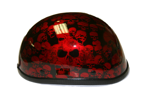 H6401-Burgandy<br>Eagle Novelty Gold Boneyard Helmet