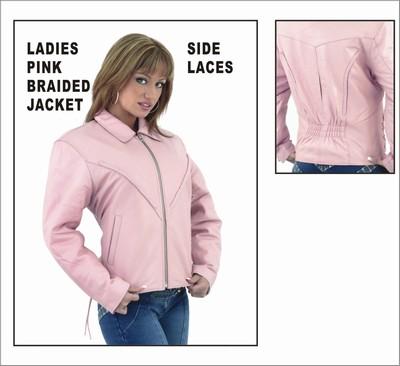 DLJ249-pink<br>Ladies Heavy Duty Soft Pink Leather MC Jacket