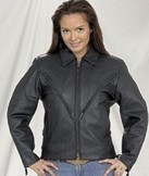 DLJ249-SS<br>Ladies Heavy Duty Leather MC Jacket