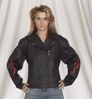 DLJ254-01<br>Ladies Naked Cowhide Motorcycle Jacket with flame