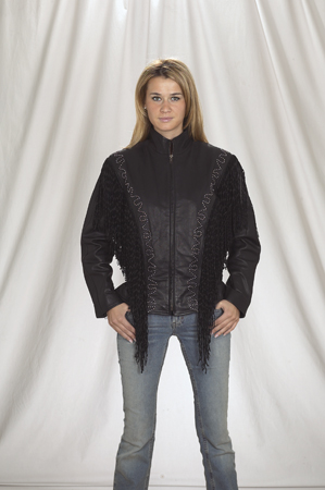 DLJ256<br>Ladies Jacket with stud and fringe