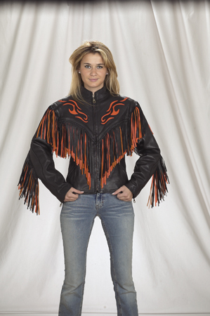 DLJ259<br>Ladies Jacket with flame and fringe