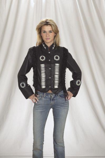 DLJ260<br>Ladies Jacket with beads, bone, braid