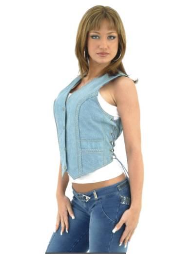 LV221-Denim<br>Ladies Denim vest with side laces