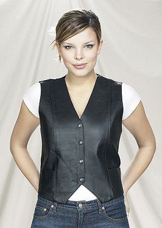 LV222<br>Ladies vest plain sides, V-Lace on the back