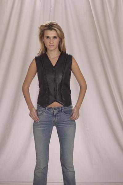 LV225<br>Ladies vest with vertical braid front & back, V-Lace on back