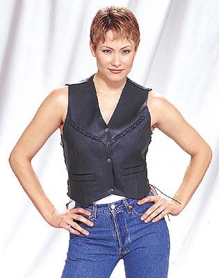 LV412<br>Ladies vest with V-braid, side laces