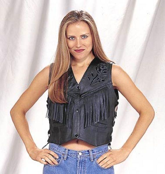 LV418<br>Ladies black rose Inlay vest