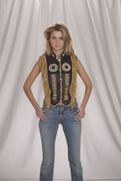 LV424<br>Ladies vest with beads, bone, braid and fringe with snaps