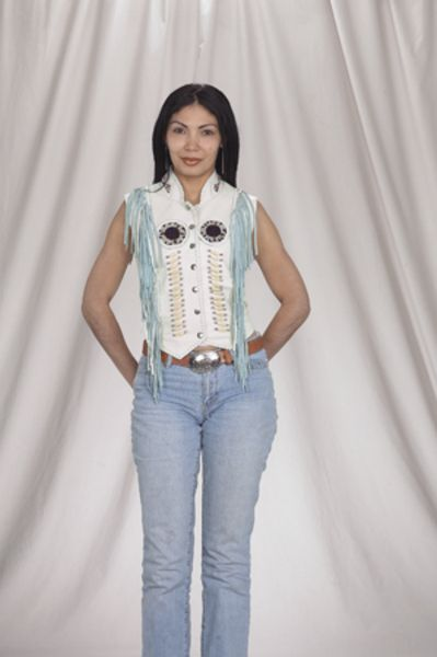 LV426<br>Ladies vest with beads, bone, braid and fringe with snaps