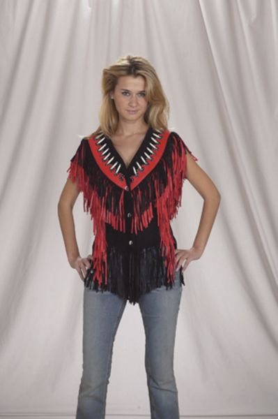 LV430<br>Ladies vest with beads, bone, braid and fringe with snaps
