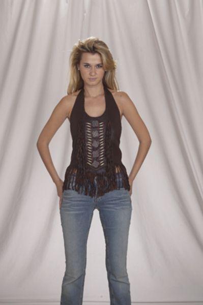 LV432<br>Ladies top dark brown with beads, bone, braid and fringe