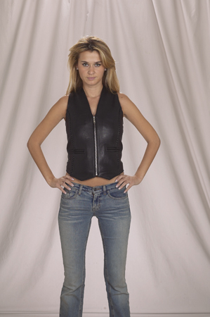 LV445<br>Ladies vest with braid front and back