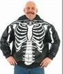 DMJ701<br>Mens Top Grade Soft Leather Skeleton w/ Skull Hood
