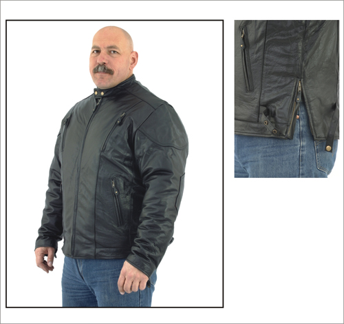 DMJ713-01<br>Mens Naked Leather Racer Jacket