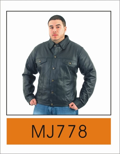 DMJ778<br>Mens leather shirt with buttons