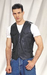 MV1301<br>Braided Leather Vest (Medium Weight) **ON SALE**
