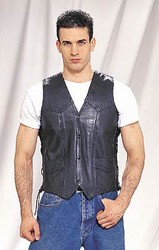 MV1303<br>Plain Leather Vest w/ Side Laces (Light Weight) **ON SALE**