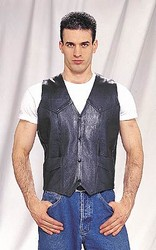 MV302-04<br>Plain Leather Vest (Medium Weight)
